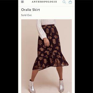Anthropologie 0 Oralie black gold metallic skirt